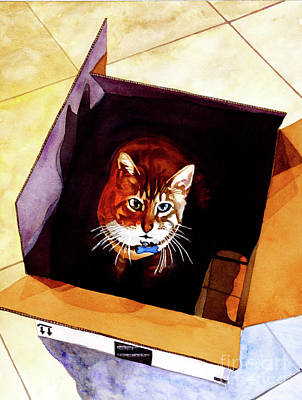 Lums Painting - #260 Cat In The Box by William Lum