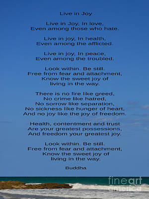 Photograph - 261- Live In Joy - Buddha by Joseph Keane