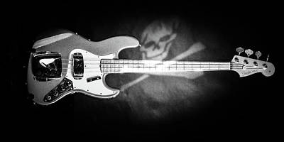 Photograph - 261.1834 Fender 1965 Jazz Bass Black And White by M K Miller