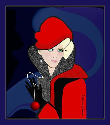 Digital Art - 2615 Christmas Lady 2018 by Irmgard Schoendorf Welch