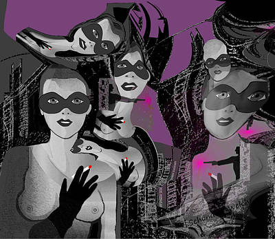 Digital Art - 2616 Ladies Masks Men Weapons 2018 by Irmgard Schoendorf Welch