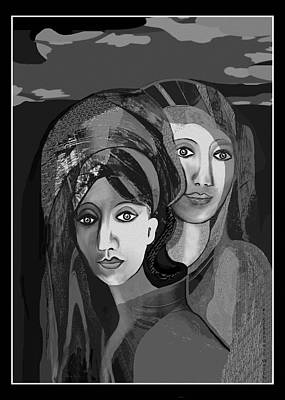 Digital Art - 2617  Two   Ladies 2018 by Irmgard Schoendorf Welch