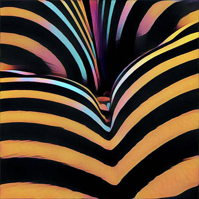 Digital Art - 2620s-ak Zebra Striped Bottom Rear Butt Cheeks Ass Backside Woman In Composition Style by Chris Maher