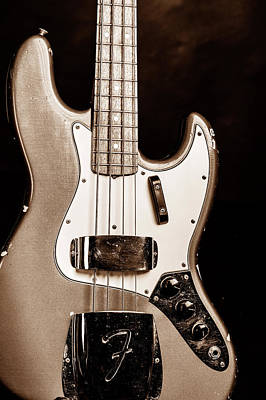 Photograph - 262.1834 Fender 1965 Jazz Bass Black And White by M K Miller