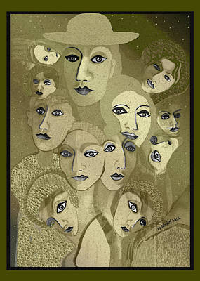 Digital Art - 2618 Faces 2018   by Irmgard Schoendorf Welch