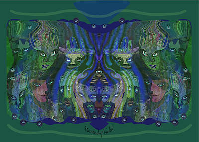 Digital Art - 2625 Fiend Faces 2018 by Irmgard Schoendorf Welch