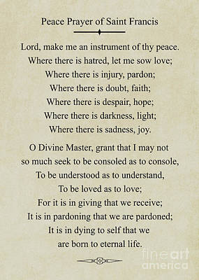 Photograph - 263- Peace Prayer Of Saint Francis by Joseph Keane