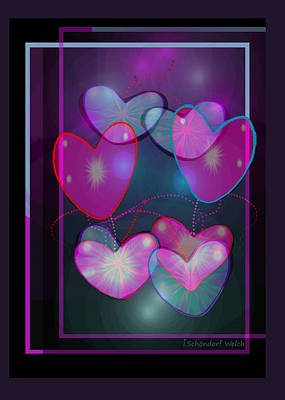 Digital Art - 2630 Hearts 2018 by Irmgard Schoendorf Welch