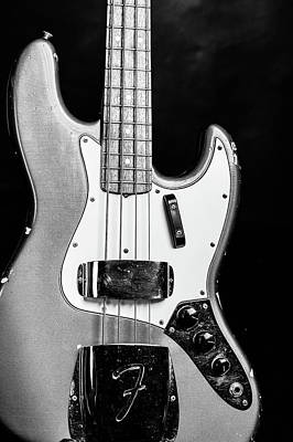 Photograph - 263.1834 Fender 1965 Jazz Bass Black And White by M K Miller