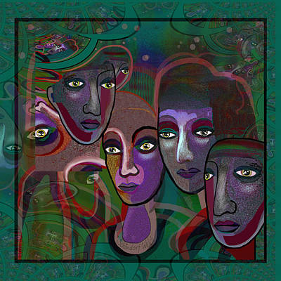Digital Art - 2639 Faces 2018 A by Irmgard Schoendorf Welch