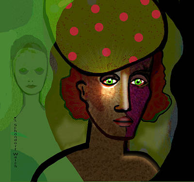 Digital Art - 2648 Woman With Green Eyes 2018 V by Irmgard Schoendorf Welch
