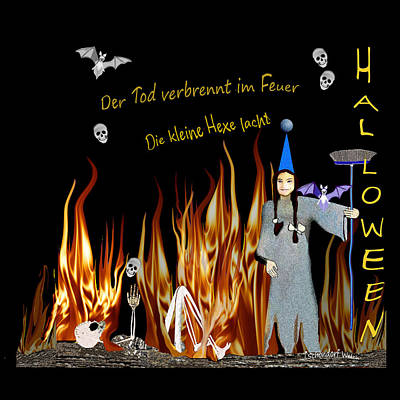 Digital Art - 2650 Halloween Death Burning In The Fire V by Irmgard Schoendorf Welch