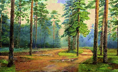 Forest Painting - Nature Oil Canvas Landscape by Edna Wallen