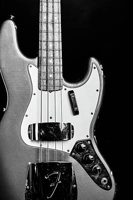 Photograph - 267.1834 Fender 1965 Jazz Bass Black And White by M K Miller