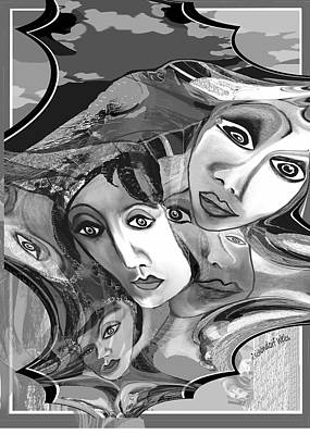 Digital Art - 2688 Faces 2018 by Irmgard Schoendorf Welch