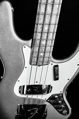 Photograph - 269.1834 Fender 1965 Jazz Bass Black And White by M K Miller