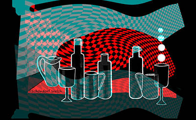Digital Art - 2692 Bottles Glasses And Cups  2018 V by Irmgard Schoendorf Welch