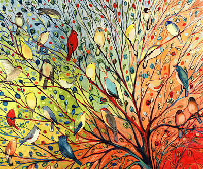 Green Painting - 27 Birds by Jennifer Lommers