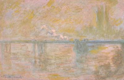 Outlook Painting - Charing Cross Bridge by Claude Monet