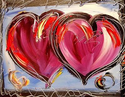 Water Sports Poster Painting - Hearts by Mark Kazav
