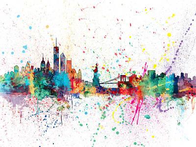 Apples Digital Art - New York Skyline by Michael Tompsett