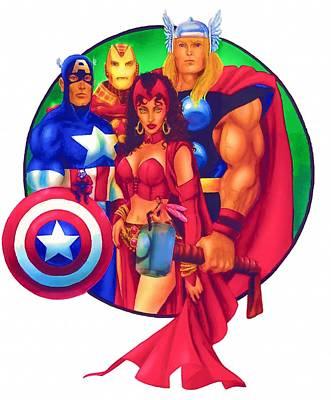 Superheroes Digital Art - Superheroines by Egor Vysockiy