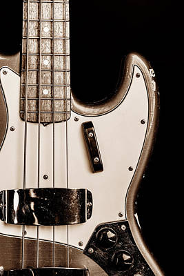 Photograph - 270.1834 Fender 1965 Jazz Bass Black And White by M K Miller
