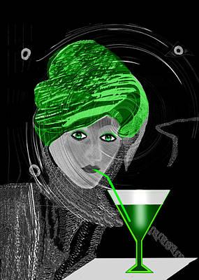 Digital Art - 2713 Green Drink A by Irmgard Schoendorf Welch