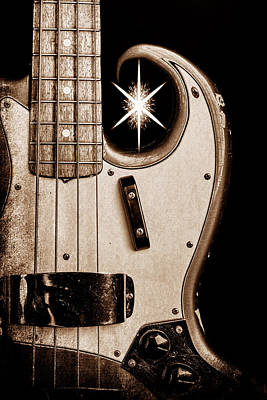 Photograph - 272.1834 Fender 1965 Jazz Bass Black And White by M K Miller