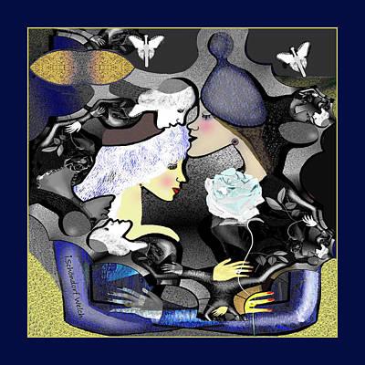 Digital Art - 2749  The  Light Blue Rose Fractale 2018    by Irmgard Schoendorf Welch