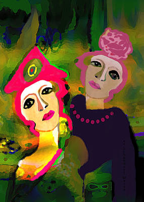 Digital Art - 2755 Two Ladies 2018 by Irmgard Schoendorf Welch