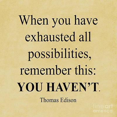 Photograph - 276-  Thomas Edison by Joseph Keane