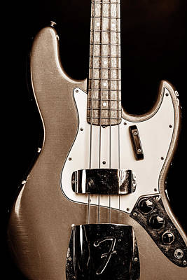 Photograph - 276.1834 Fender 1965 Jazz Bass Black And White by M K Miller