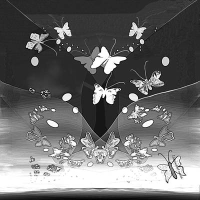 Digital Art - 2762 Butterflies Black And White 2018 by Irmgard Schoendorf Welch