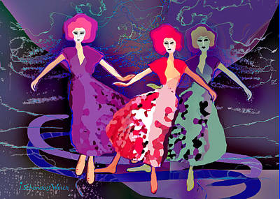 Digital Art - 2775 Lady Dancing Dolls 2018 by Irmgard Schoendorf Welch
