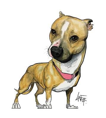 Pitbull Drawing - 2782 Hilby by John LaFree