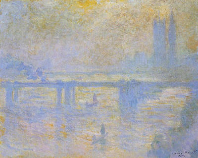 Boat Painting - Charing Cross Bridge by Claude Monet