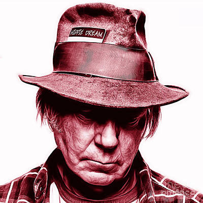 Neil Young Collection Print by Marvin Blaine