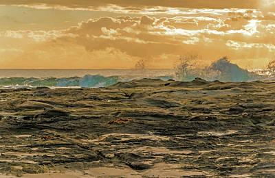 Romantic French Magazine Covers - Rocky Sunrise Seascape by Merrillie Redden
