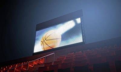 Basketball Digital Art - Sports Stadium Scoreboard by Allan Swart
