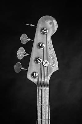 Photograph - 281.1834 Fender 1965 Jazz Bass Black And White by M K Miller