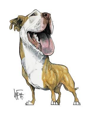 Pitbull Drawing - 2830 Lewis by John LaFree