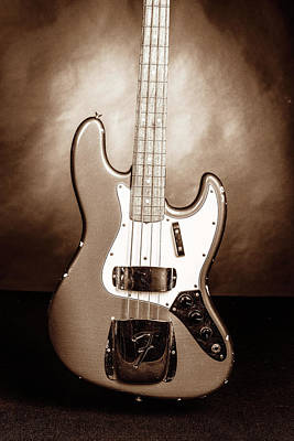 Photograph - 286.1834 Fender 1965 Jazz Bass Black And White by M K Miller