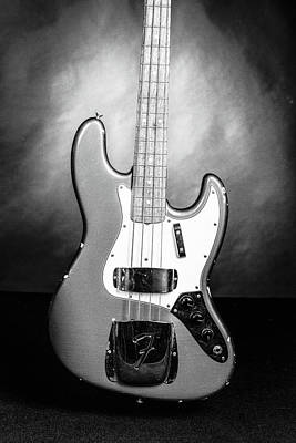 Photograph - 287.1834 Fender 1965 Jazz Bass Black And White by M K Miller