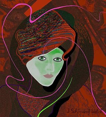 289 - Anna  With  Dark Red Cap Art Print by Irmgard Schoendorf Welch