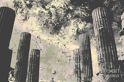 Athena Digital Art - Akropolis Columns by Marina McLain