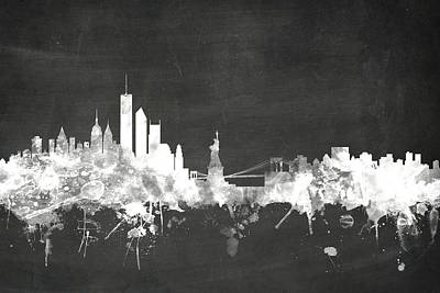 Chalk Boards Digital Art - New York Skyline by Michael Tompsett