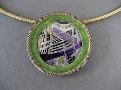 Mixed Media - 292 Abstract In Purple Green Rim by Brenda Berdnik