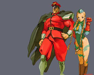 Bison Digital Art - 29235 Street Fighter M Bison And Cammy by F S