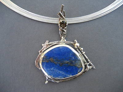Jewelry - 299 Twig Work Lapis Smokey Quartz by Brenda Berdnik